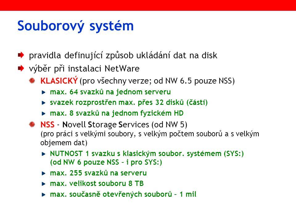 Souborový systém pravidla definující způsob ukládání dat na disk výběr při instalaci NetWare KLASICKÝ KLASICKÝ (pro všechny verze; od NW 6.5 pouze NSS) max.