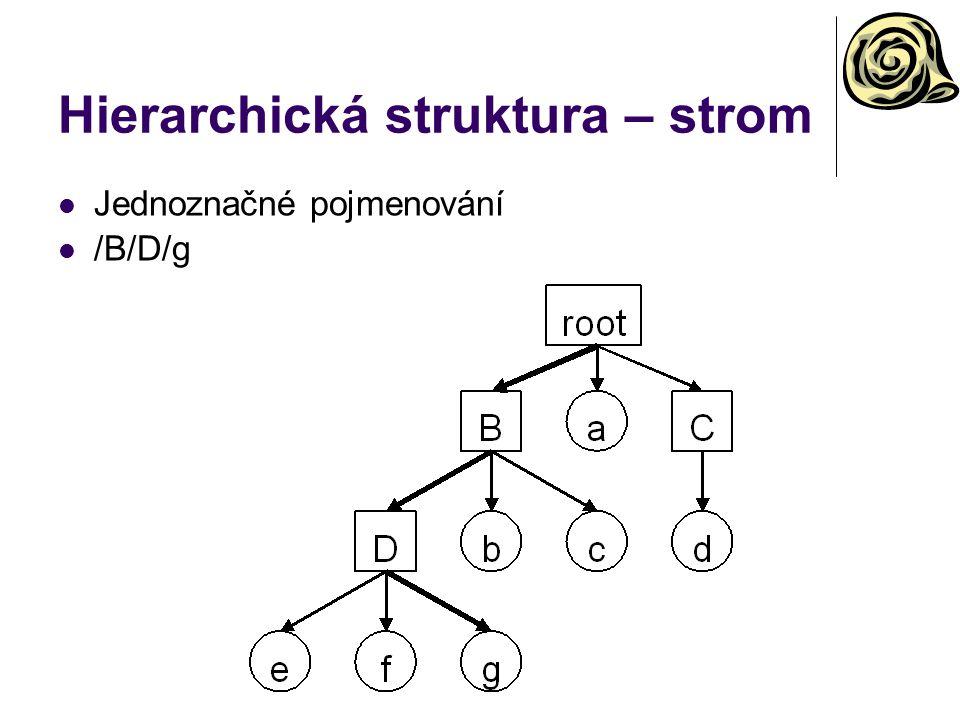 Hierarchická struktura – strom Jednoznačné pojmenování /B/D/g