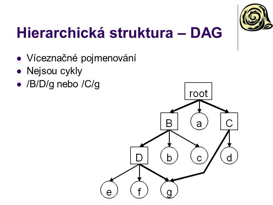 Hierarchická struktura – DAG Víceznačné pojmenování Nejsou cykly /B/D/g nebo /C/g