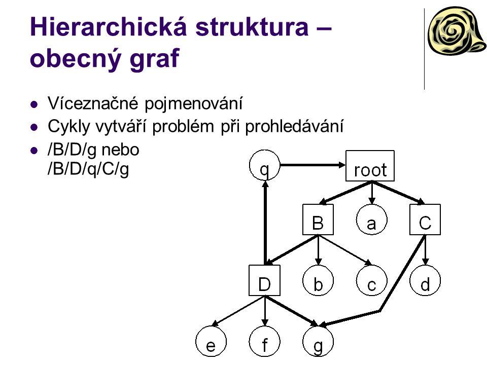 Hierarchická struktura – obecný graf Víceznačné pojmenování Cykly vytváří problém při prohledávání /B/D/g nebo /B/D/q/C/g