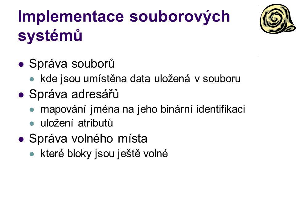 Implementace souborových systémů Správa souborů kde jsou umístěna data uložená v souboru Správa adresářů mapování jména na jeho binární identifikaci u