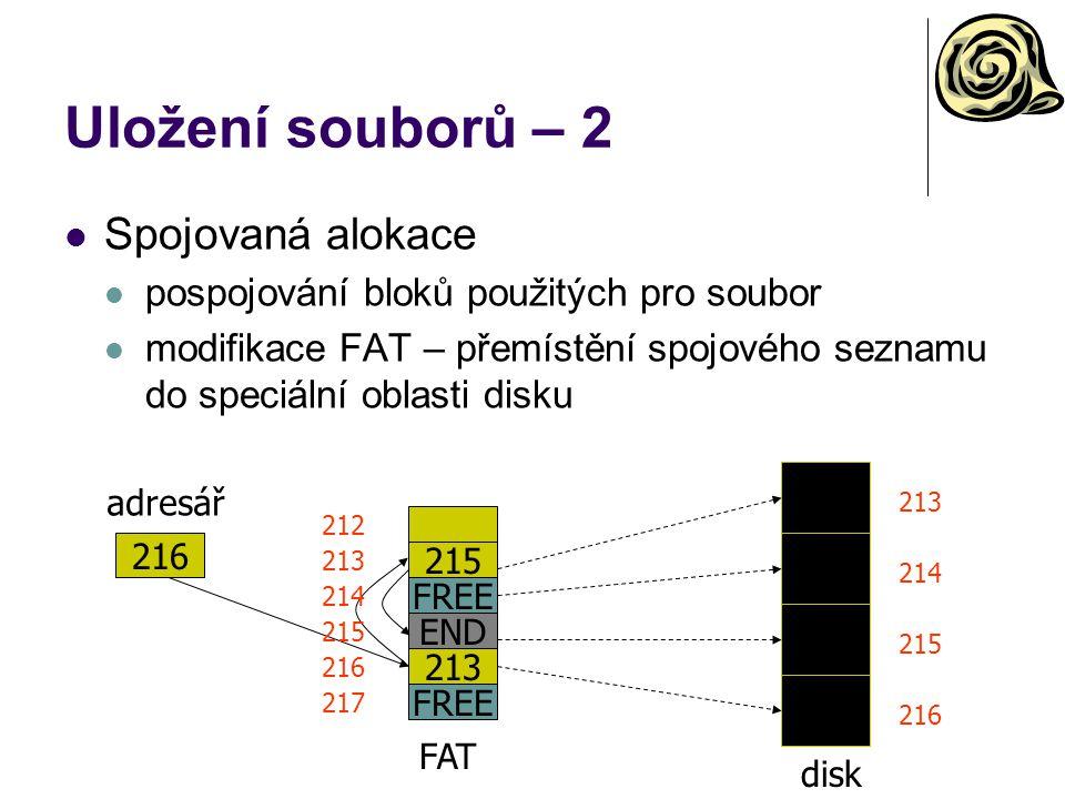Uložení souborů – 2 Spojovaná alokace pospojování bloků použitých pro soubor modifikace FAT – přemístění spojového seznamu do speciální oblasti disku