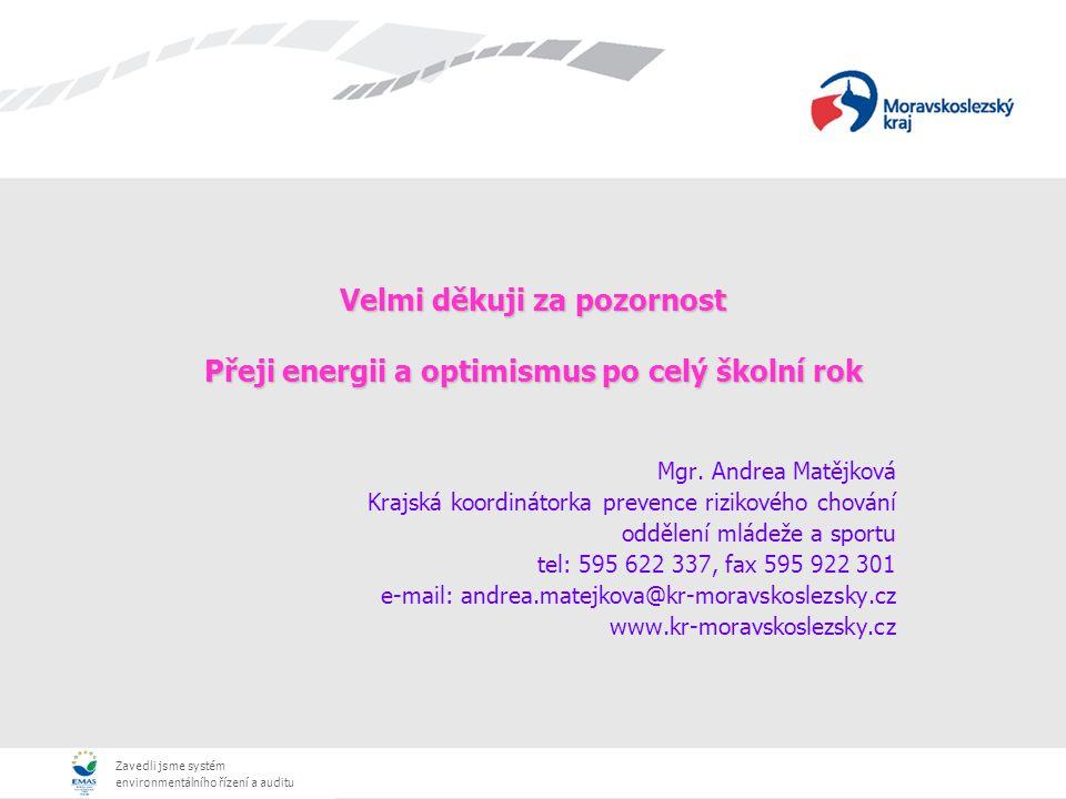 Zavedli jsme systém environmentálního řízení a auditu Velmi děkuji za pozornost Přeji energii a optimismus po celý školní rok Mgr. Andrea Matějková Kr
