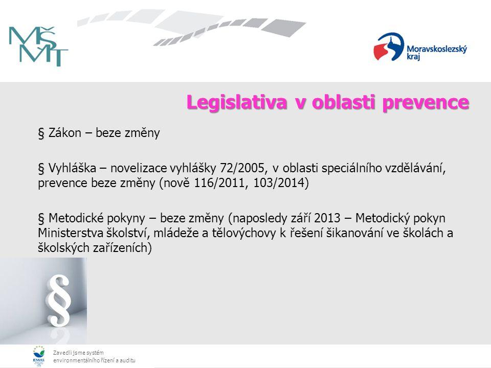 Zavedli jsme systém environmentálního řízení a auditu Legislativa v oblasti prevence § § Zákon – beze změny § § Vyhláška – novelizace vyhlášky 72/2005