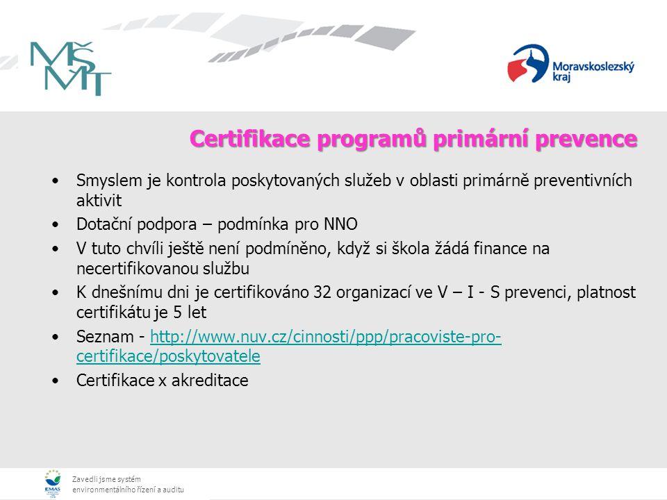 Zavedli jsme systém environmentálního řízení a auditu Certifikace programů primární prevence Smyslem je kontrola poskytovaných služeb v oblasti primárně preventivních aktivit Dotační podpora – podmínka pro NNO V tuto chvíli ještě není podmíněno, když si škola žádá finance na necertifikovanou službu K dnešnímu dni je certifikováno 32 organizací ve V – I - S prevenci, platnost certifikátu je 5 let Seznam - http://www.nuv.cz/cinnosti/ppp/pracoviste-pro- certifikace/poskytovatelehttp://www.nuv.cz/cinnosti/ppp/pracoviste-pro- certifikace/poskytovatele Certifikace x akreditace