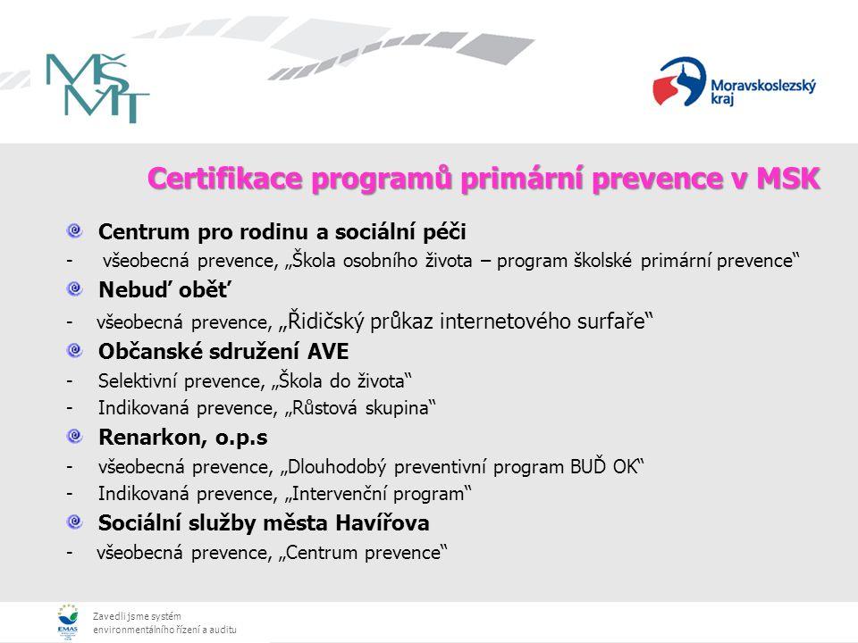 Zavedli jsme systém environmentálního řízení a auditu Certifikace programů primární prevence v MSK Centrum pro rodinu a sociální péči - všeobecná prev