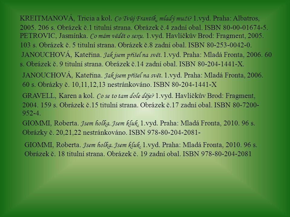 KREITMANOVÁ, Tricia a kol. Co Tvůj Frantík, mladý muži? 1.vyd. Praha: Albatros, 2005. 206 s. Obrázek č.1 titulní strana. Obrázek č.4 zadní obal. ISBN
