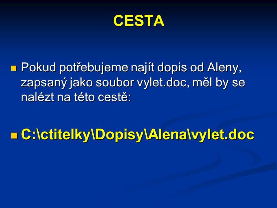 CESTA Pokud potřebujeme najít dopis od Aleny, zapsaný jako soubor vylet.doc, měl by se nalézt na této cestě: Pokud potřebujeme najít dopis od Aleny, zapsaný jako soubor vylet.doc, měl by se nalézt na této cestě: C:\ctitelky\Dopisy\Alena\vylet.doc C:\ctitelky\Dopisy\Alena\vylet.doc
