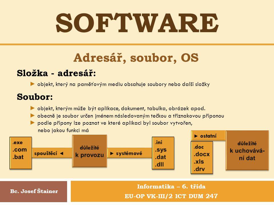 SOFTWARE Informatika – 6.třída EU-OP VK-III/2 ICT DUM 247 Adresář, soubor, OS Bc.