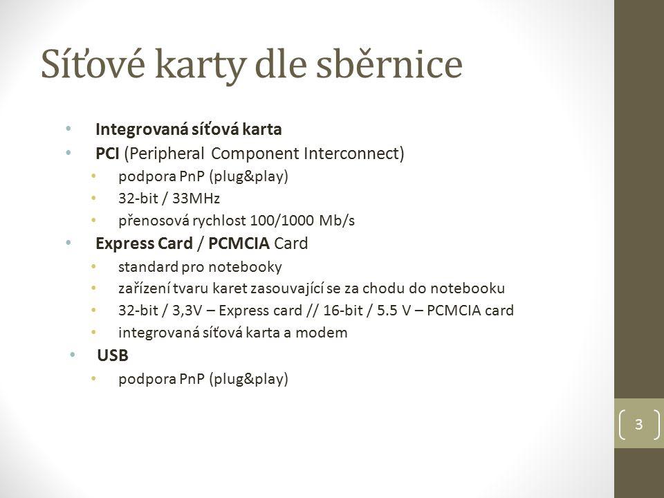 3 Síťové karty dle sběrnice Integrovaná síťová karta PCI (Peripheral Component Interconnect) podpora PnP (plug&play) 32-bit / 33MHz přenosová rychlost 100/1000 Mb/s Express Card / PCMCIA Card standard pro notebooky zařízení tvaru karet zasouvající se za chodu do notebooku 32-bit / 3,3V – Express card // 16-bit / 5.5 V – PCMCIA card integrovaná síťová karta a modem USB podpora PnP (plug&play)