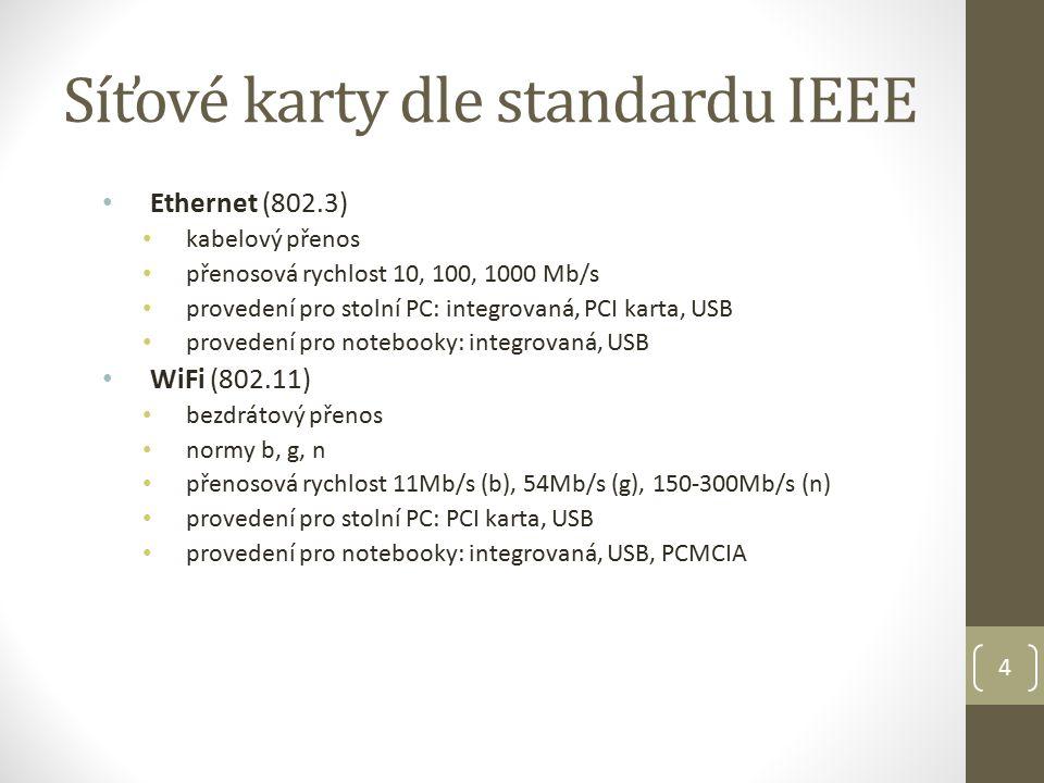 4 Síťové karty dle standardu IEEE Ethernet (802.3) kabelový přenos přenosová rychlost 10, 100, 1000 Mb/s provedení pro stolní PC: integrovaná, PCI karta, USB provedení pro notebooky: integrovaná, USB WiFi (802.11) bezdrátový přenos normy b, g, n přenosová rychlost 11Mb/s (b), 54Mb/s (g), 150-300Mb/s (n) provedení pro stolní PC: PCI karta, USB provedení pro notebooky: integrovaná, USB, PCMCIA