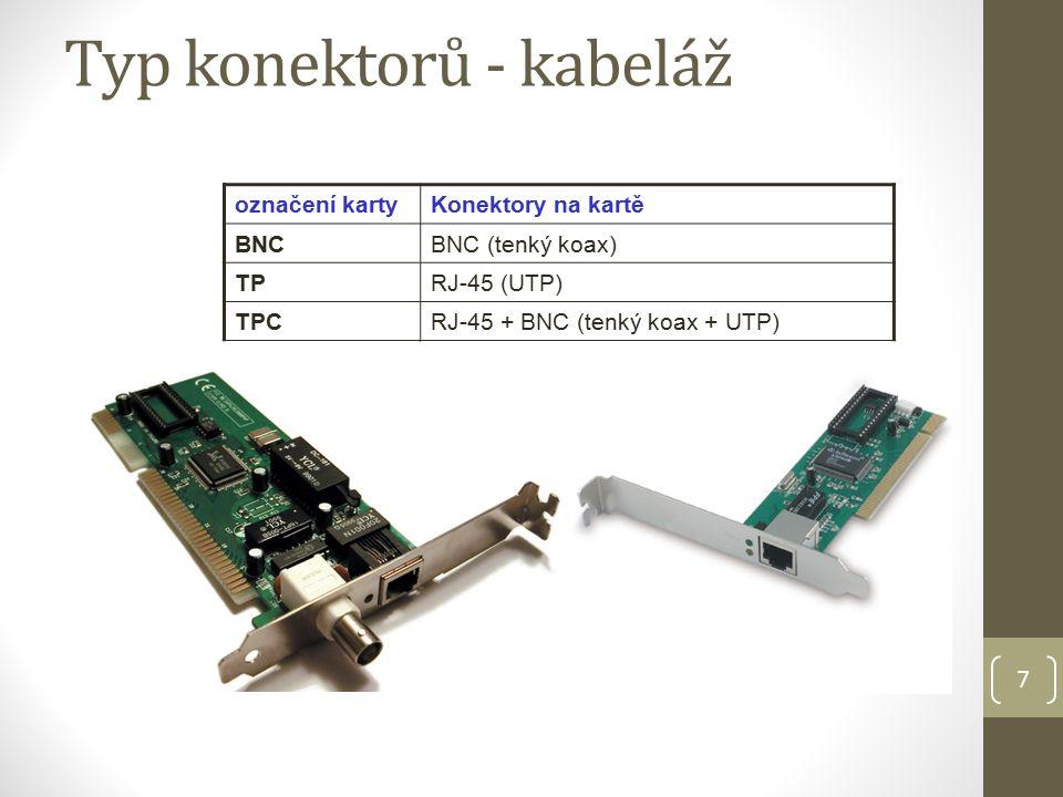 7 Typ konektorů - kabeláž označení kartyKonektory na kartě BNCBNC (tenký koax) TPRJ-45 (UTP) TPCRJ-45 + BNC (tenký koax + UTP)