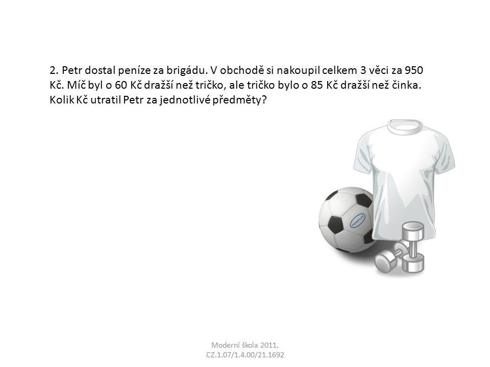 Moderní škola 2011, CZ.1.07/1.4.00/21.1692 2. Petr dostal peníze za brigádu.