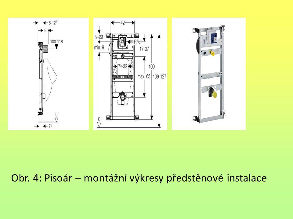 Obr. 4: Pisoár – montážní výkresy předstěnové instalace