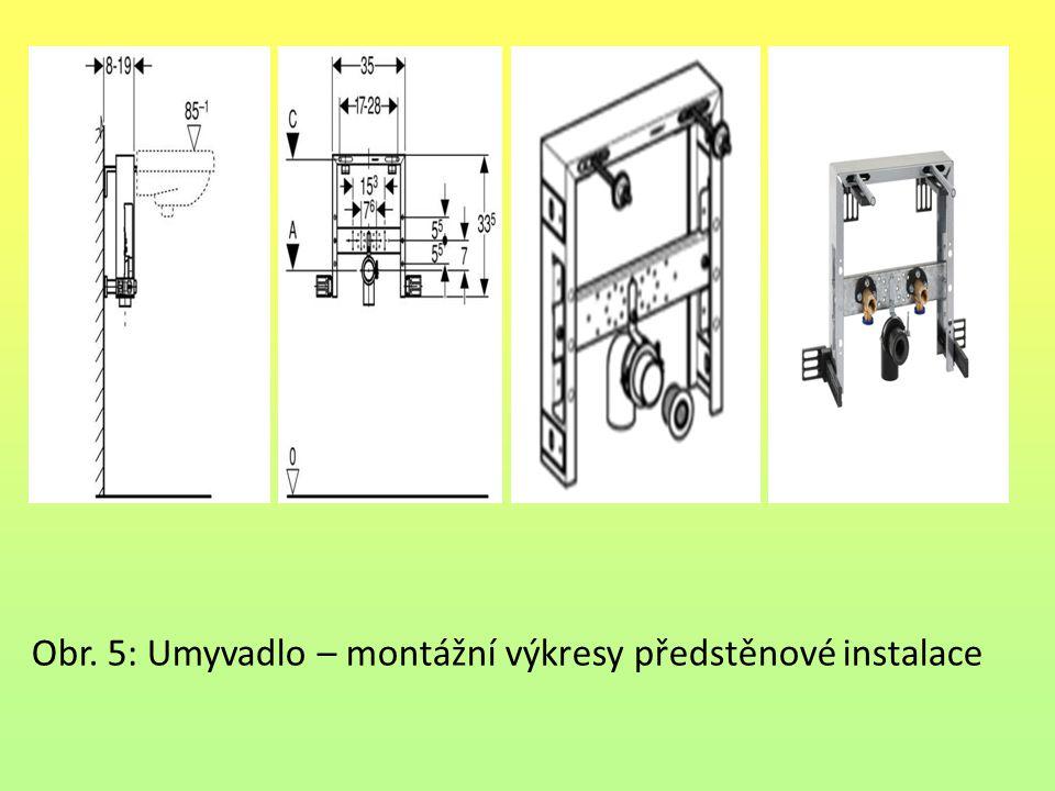 Obr. 5: Umyvadlo – montážní výkresy předstěnové instalace