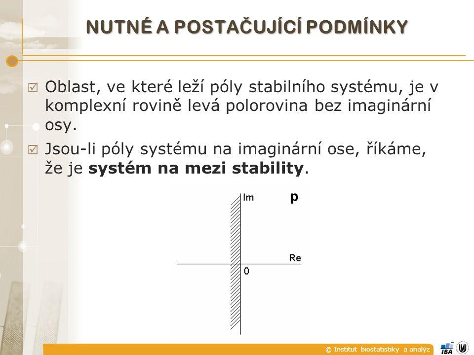 © Institut biostatistiky a analýz NUTNÉ A POSTA Č UJÍCÍ PODMÍNKY  Oblast, ve které leží póly stabilního systému, je v komplexní rovině levá polorovina bez imaginární osy.