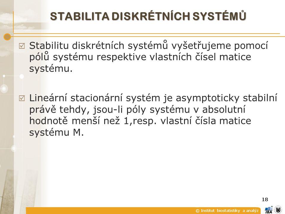 © Institut biostatistiky a analýz 18 STABILITA DISKRÉTNÍCH SYSTÉM Ů  Stabilitu diskrétních systémů vyšetřujeme pomocí pólů systému respektive vlastní