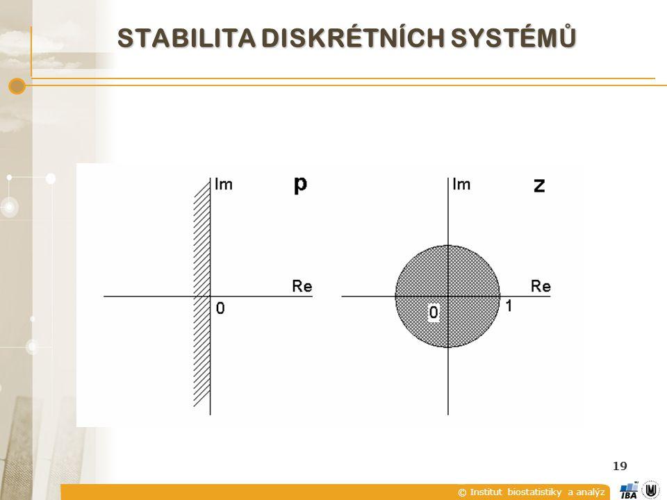 © Institut biostatistiky a analýz 19 STABILITA DISKRÉTNÍCH SYSTÉM Ů