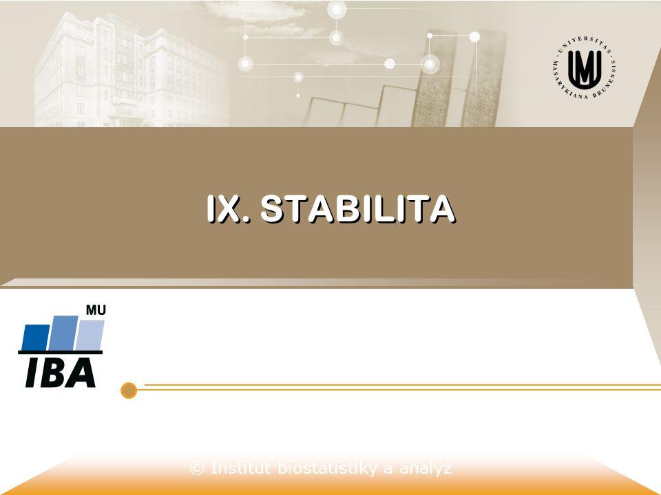 © Institut biostatistiky a analýz KDY JE A KDY NENÍ SYSTÉM STABILNÍ  Stabilita - vlastnost systému, kterou můžeme charakterizovat jeho schopností udržet své chování či rysy (parametry) v předepsaných mezích i za případného vnějšího rušivého působení.