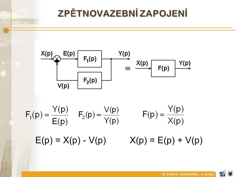 © Institut biostatistiky a analýz ZP Ě TNOVAZEBNÍ ZAPOJENÍ E(p) = X(p) - V(p) X(p) = E(p) + V(p)