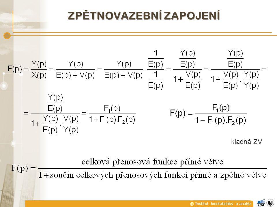 © Institut biostatistiky a analýz ZP Ě TNOVAZEBNÍ ZAPOJENÍ kladná ZV