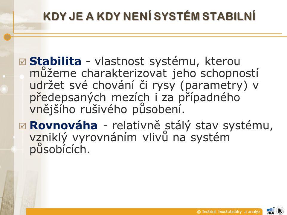 © Institut biostatistiky a analýz KDY JE A KDY NENÍ SYSTÉM STABILNÍ  Stabilita - vlastnost systému, kterou můžeme charakterizovat jeho schopností udr