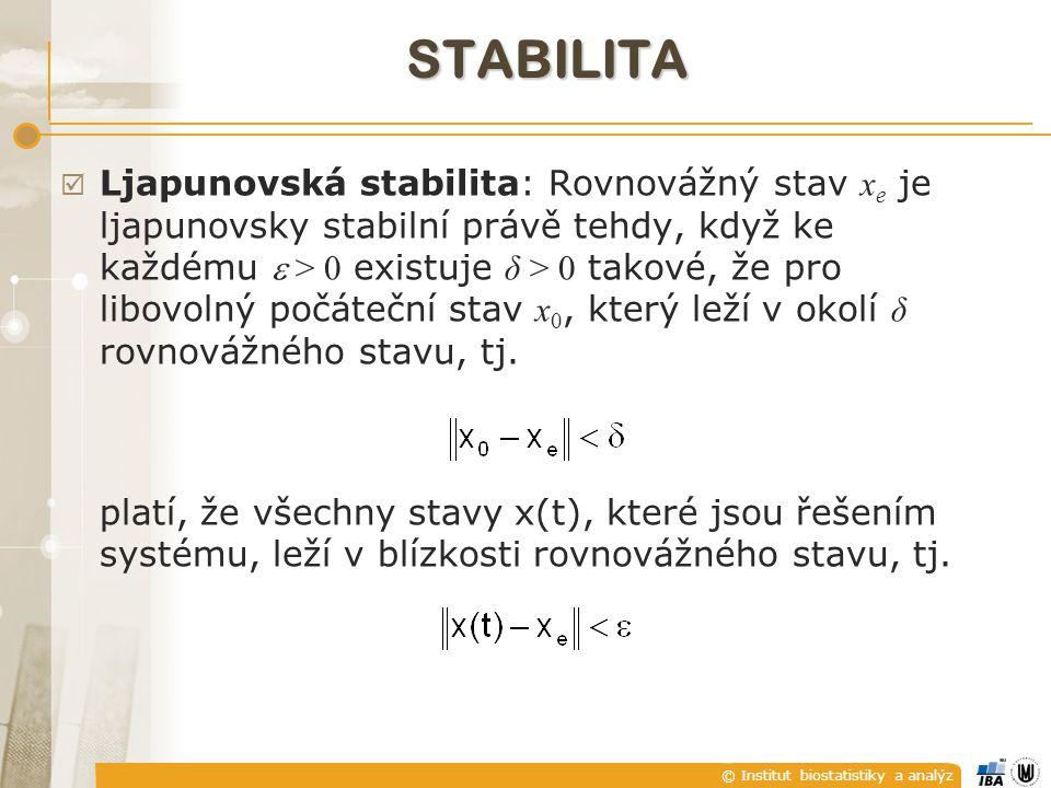 © Institut biostatistiky a analýz STABILITA  Ljapunovská stabilita: Rovnovážný stav x e je ljapunovsky stabilní právě tehdy, když ke každému  > 0 existuje δ > 0 takové, že pro libovolný počáteční stav x 0, který leží v okolí δ rovnovážného stavu, tj.