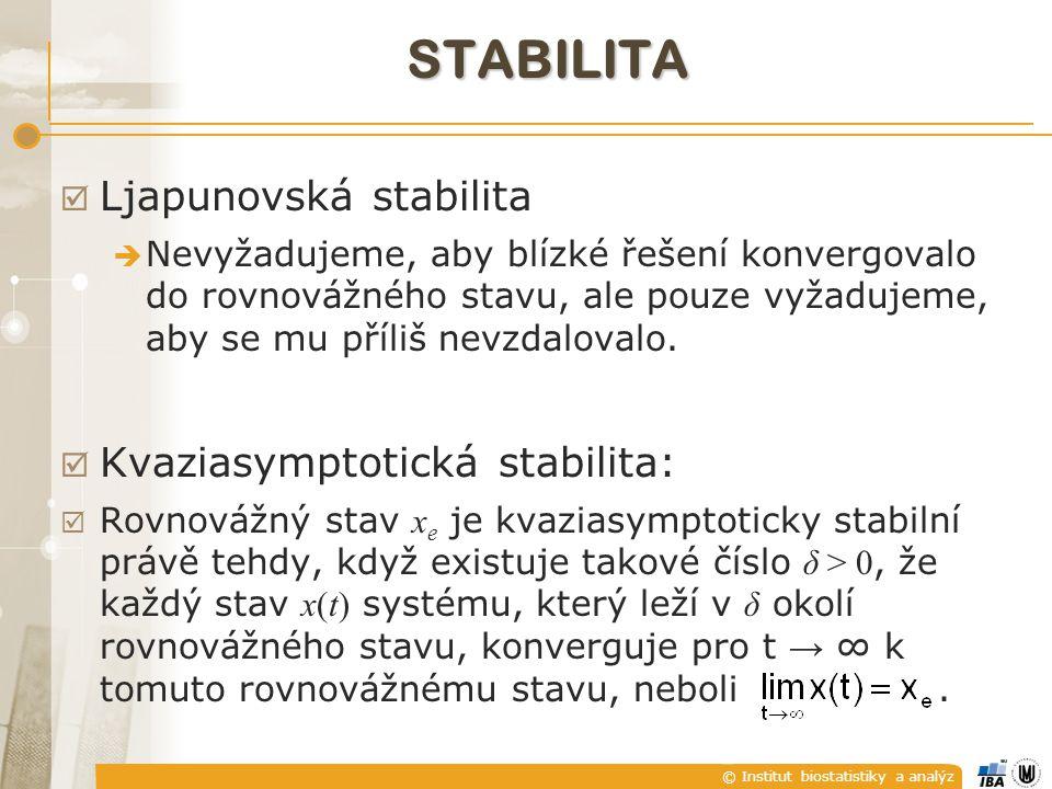 © Institut biostatistiky a analýz STABILITA  Asymptotická stabilita: Rovnovážný stav je asymptoticky stabilní právě tehdy, když je ljapunovsky stabilní i kvaziasymptoticky stabilní.