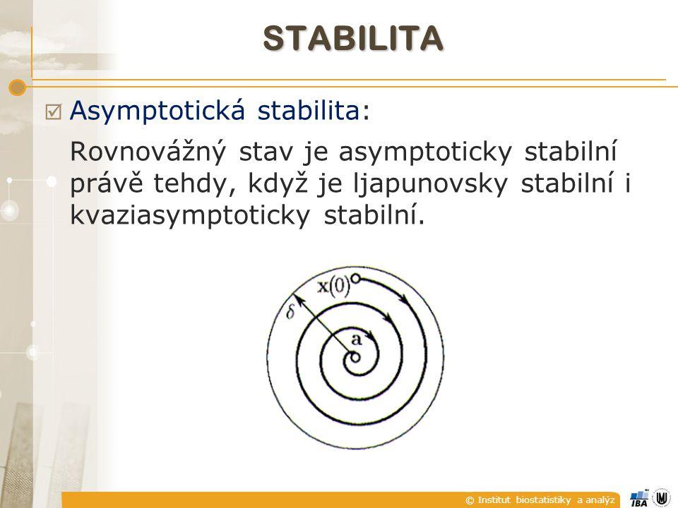 """© Institut biostatistiky a analýz STABILITA  Stabilitu můžeme definovat i z """"vnějšího pohledu a to tak, že na každý omezený vstup (co do hodnot) bude systém reagovat omezeným výstupem (co do hodnot) (BIBO - Bounded Input – Bounded Output, ohraničený vstup – ohraničený výstup)."""