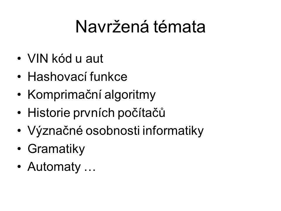 Navržená témata VIN kód u aut Hashovací funkce Komprimační algoritmy Historie prvních počítačů Význačné osobnosti informatiky Gramatiky Automaty …