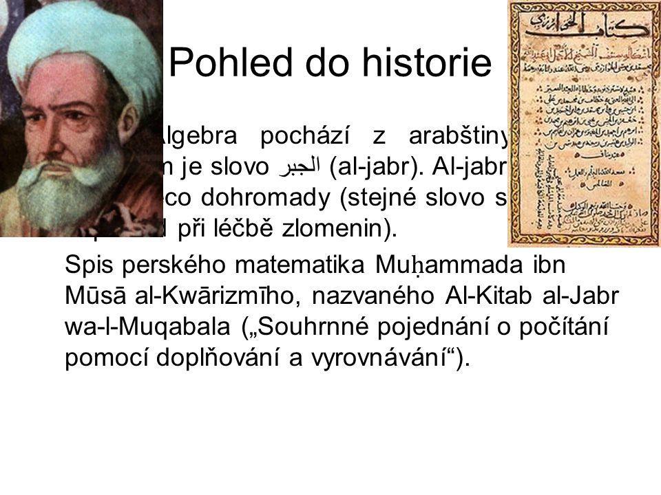 Pohled do historie Výraz Algebra pochází z arabštiny a jeho základem je slovo الجبر (al-jabr).