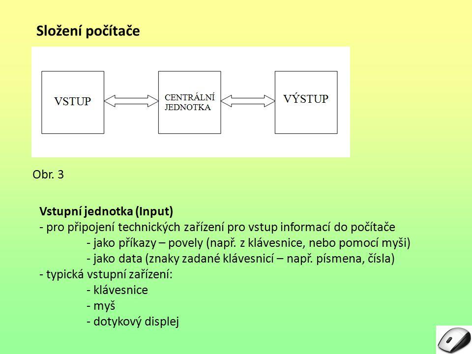 Složení počítače Vstupní jednotka (Input) - pro připojení technických zařízení pro vstup informací do počítače - jako příkazy – povely (např. z kláves