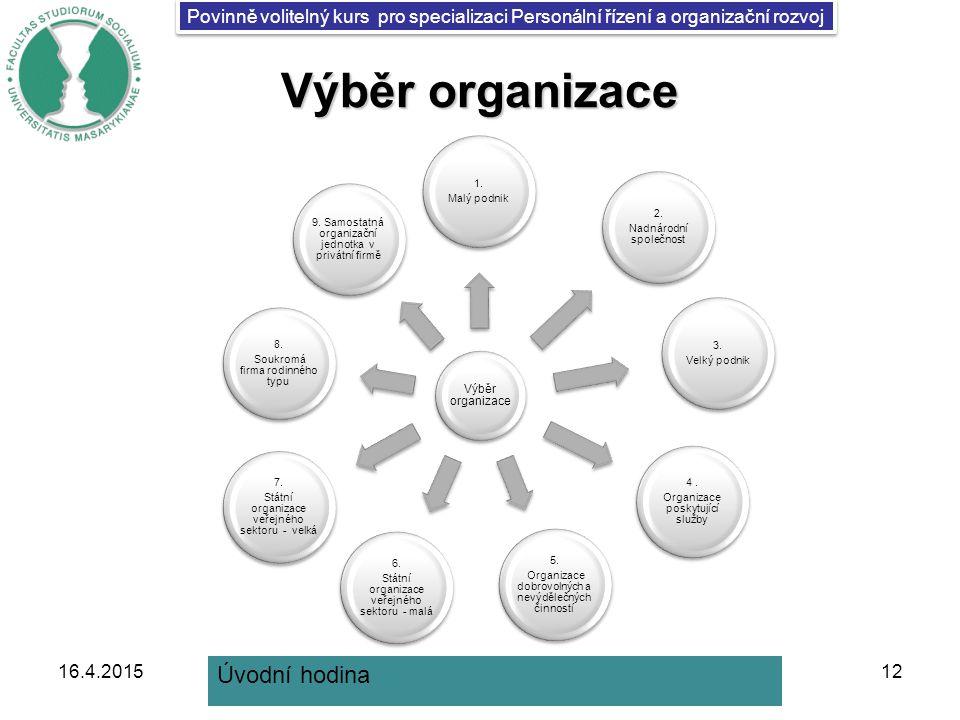 Povinně volitelný kurs pro specializaci Personální řízení a organizační rozvoj Výběr organizace 1.