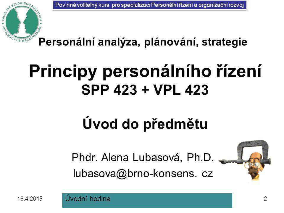 Principy personálního řízení SPP 423 + VPL 423 Úvod do předmětu Phdr.