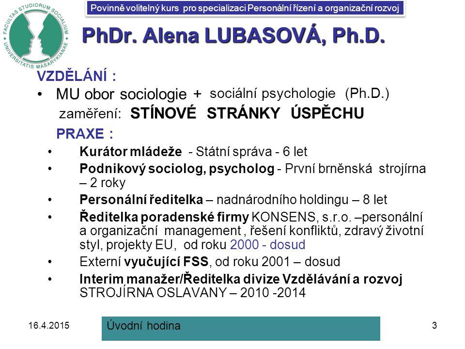 PhDr. Alena LUBASOVÁ, Ph.D.