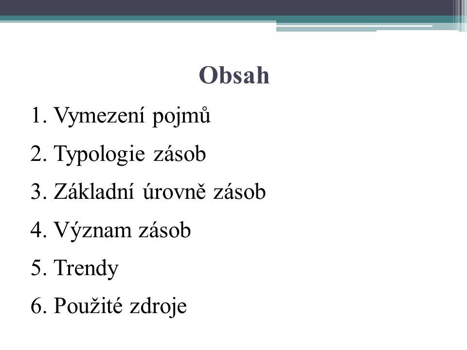 Obsah 1. Vymezení pojmů 2. Typologie zásob 3. Základní úrovně zásob 4. Význam zásob 5. Trendy 6. Použité zdroje