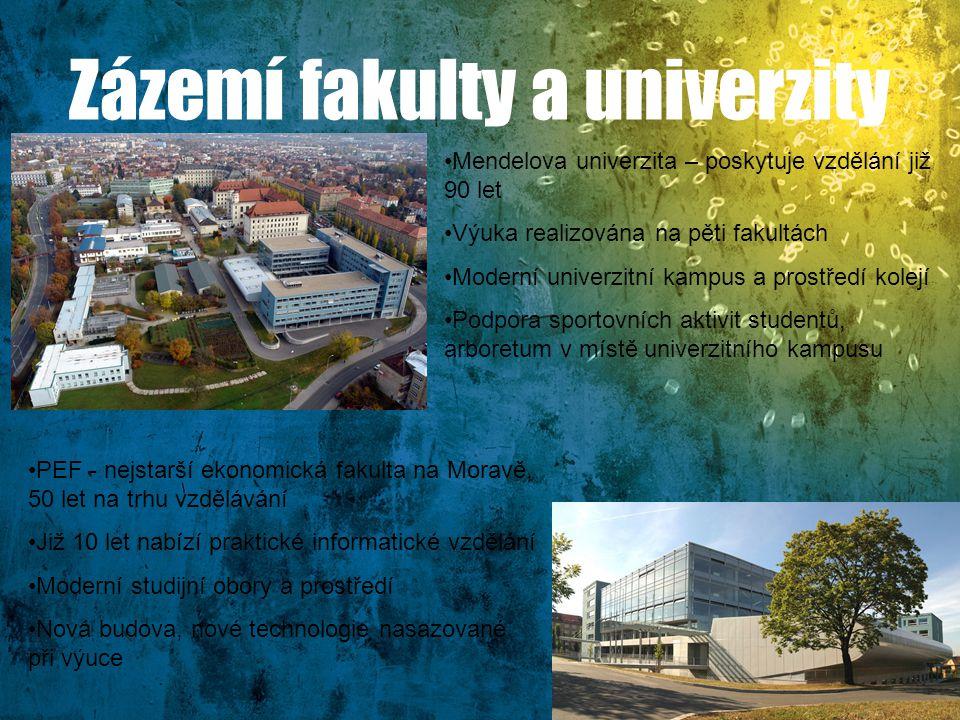 Zázemí fakulty a univerzity PEF - nejstarší ekonomická fakulta na Moravě, 50 let na trhu vzdělávání Již 10 let nabízí praktické informatické vzdělání