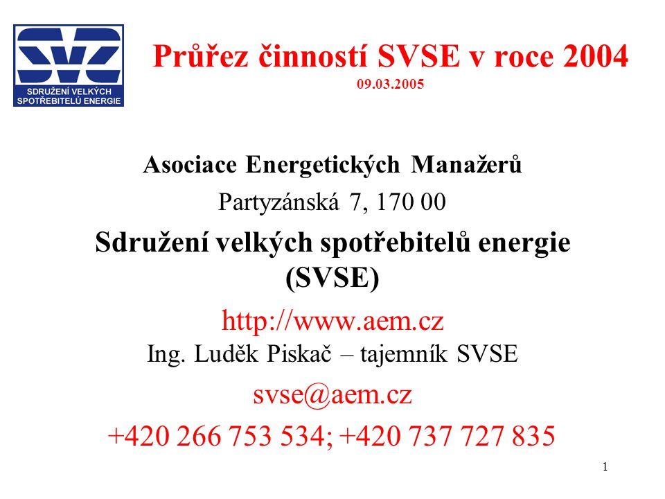 1 Průřez činností SVSE v roce 2004 09.03.2005 Asociace Energetických Manažerů Partyzánská 7, 170 00 Sdružení velkých spotřebitelů energie (SVSE) http://www.aem.cz Ing.