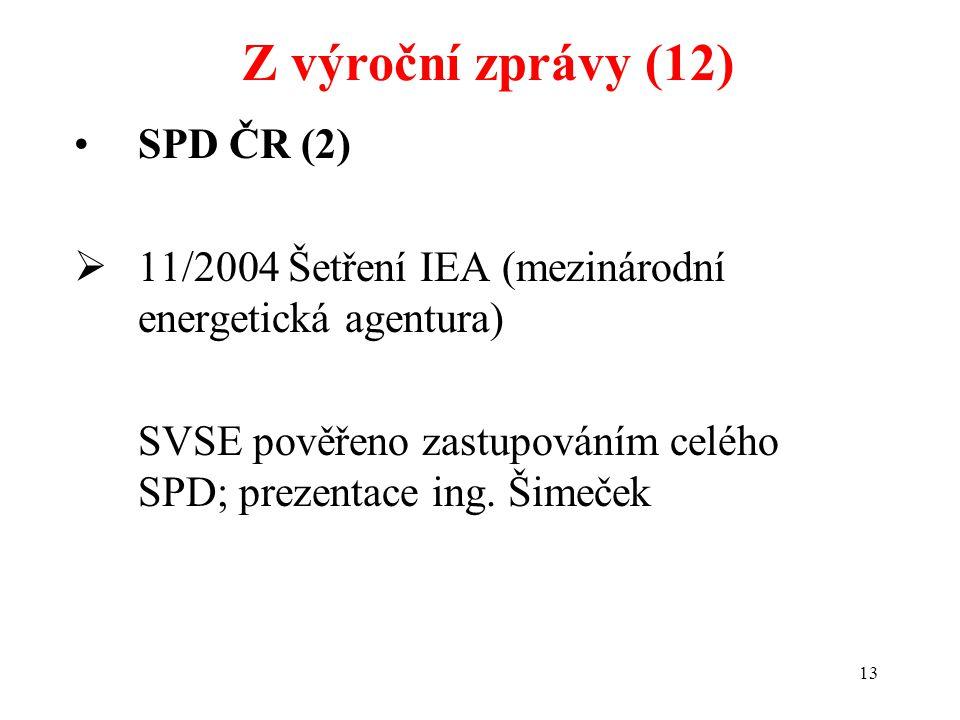 13 SPD ČR (2)  11/2004 Šetření IEA (mezinárodní energetická agentura) SVSE pověřeno zastupováním celého SPD; prezentace ing.