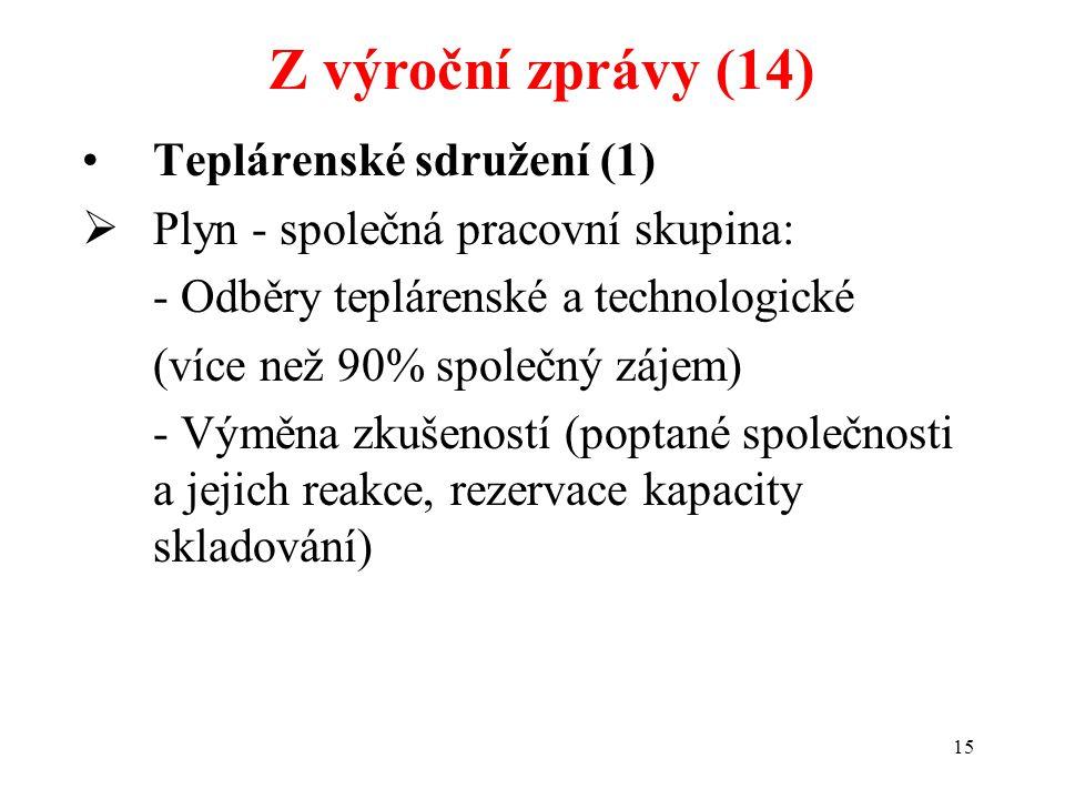 15 Teplárenské sdružení (1)  Plyn - společná pracovní skupina: - Odběry teplárenské a technologické (více než 90% společný zájem) - Výměna zkušeností (poptané společnosti a jejich reakce, rezervace kapacity skladování) Z výroční zprávy (14)