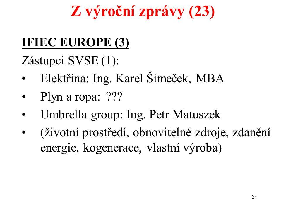24 IFIEC EUROPE (3) Zástupci SVSE (1): Elektřina: Ing. Karel Šimeček, MBA Plyn a ropa:??? Umbrella group: Ing. Petr Matuszek (životní prostředí, obnov