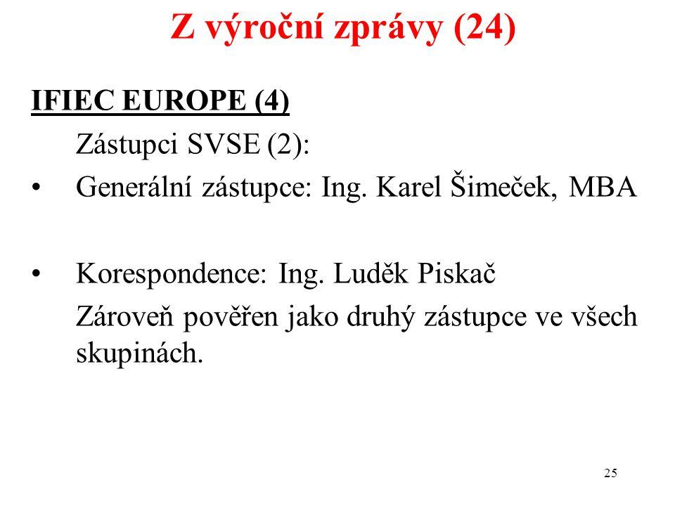 25 IFIEC EUROPE (4) Zástupci SVSE (2): Generální zástupce: Ing.