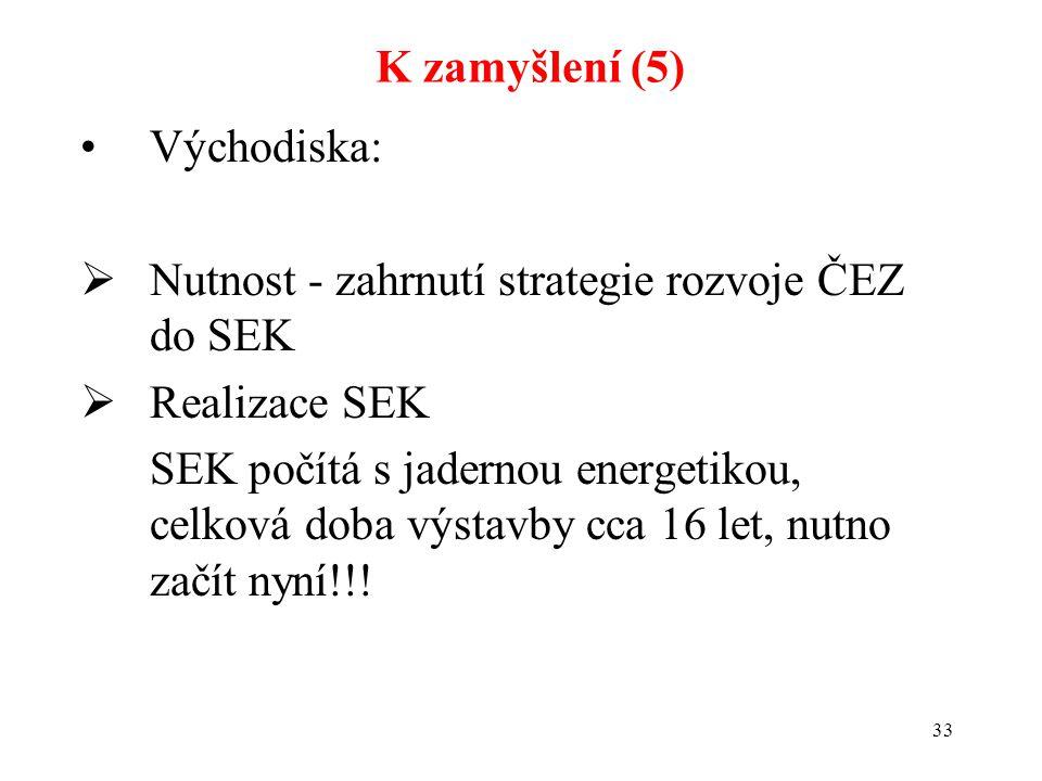 33 Východiska:  Nutnost - zahrnutí strategie rozvoje ČEZ do SEK  Realizace SEK SEK počítá s jadernou energetikou, celková doba výstavby cca 16 let, nutno začít nyní!!.