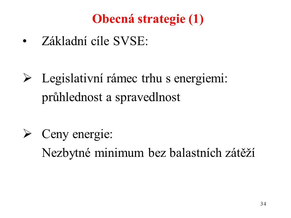 34 Základní cíle SVSE:  Legislativní rámec trhu s energiemi: průhlednost a spravedlnost  Ceny energie: Nezbytné minimum bez balastních zátěží Obecná strategie (1)