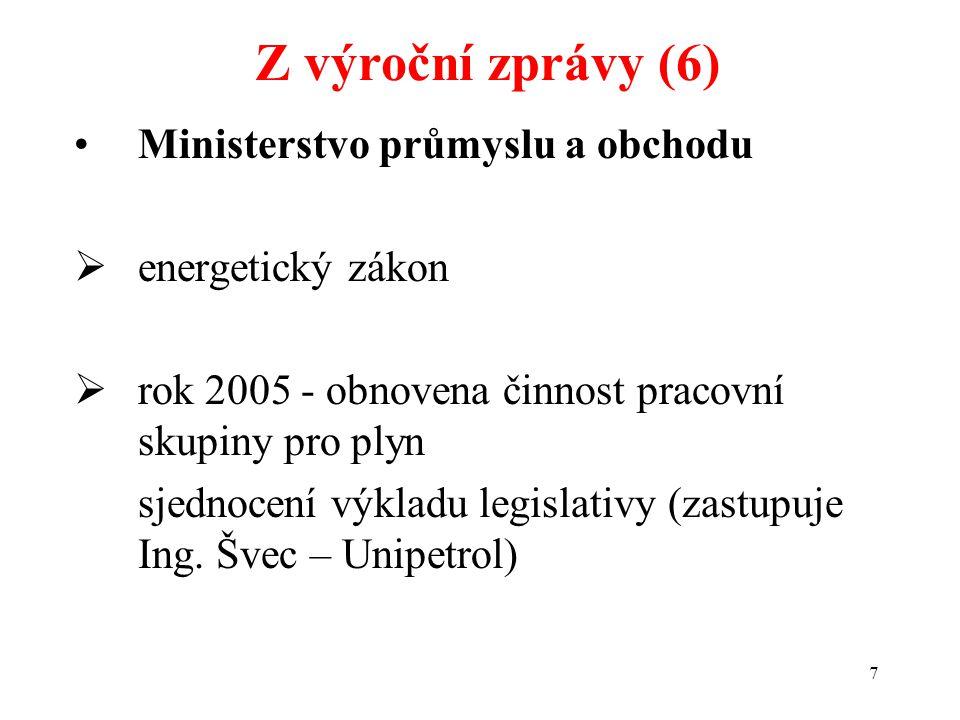 7 Ministerstvo průmyslu a obchodu  energetický zákon  rok 2005 - obnovena činnost pracovní skupiny pro plyn sjednocení výkladu legislativy (zastupuje Ing.