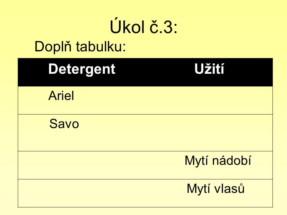Úkol č.3: Doplň tabulku: DetergentUžití Ariel Savo Mytí nádobí Mytí vlasů