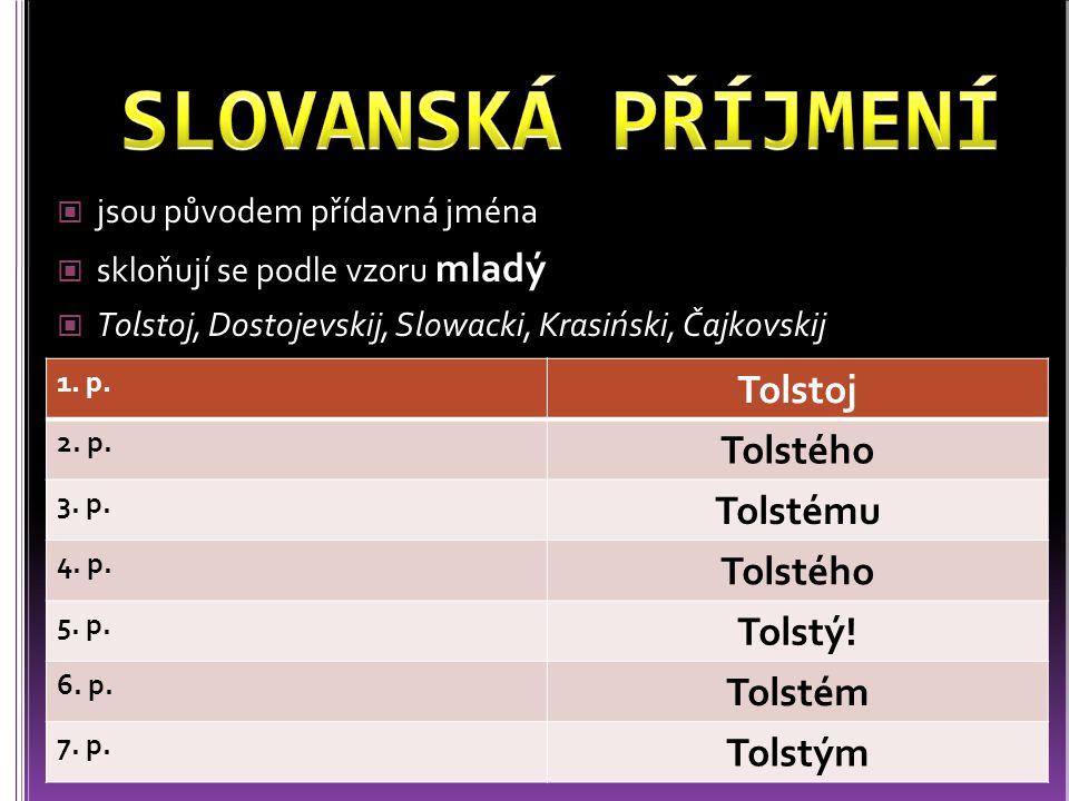 jsou původem přídavná jména skloňují se podle vzoru mladý Tolstoj, Dostojevskij, Slowacki, Krasiński, Čajkovskij 1. p. Tolstoj 2. p. Tolstého 3. p. To
