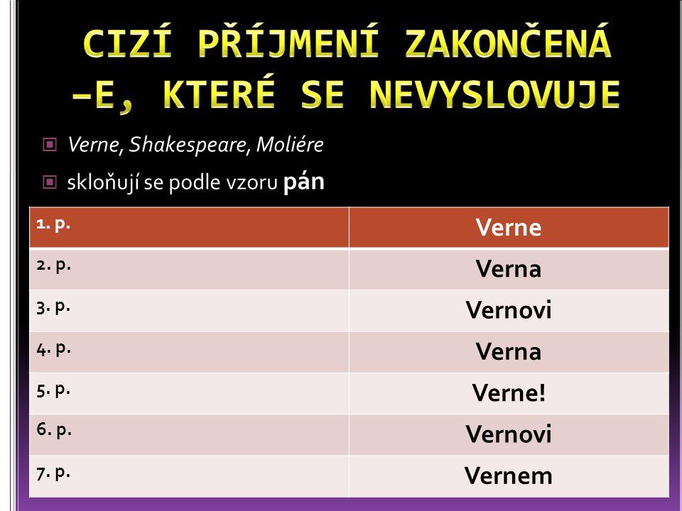 Verne, Shakespeare, Moliére skloňují se podle vzoru pán 1. p. Verne 2. p. Verna 3. p. Vernovi 4. p. Verna 5. p. Verne! 6. p. Vernovi 7. p. Vernem