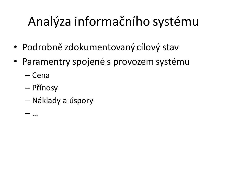 Podrobně zdokumentovaný cílový stav Paramentry spojené s provozem systému – Cena – Přínosy – Náklady a úspory – …