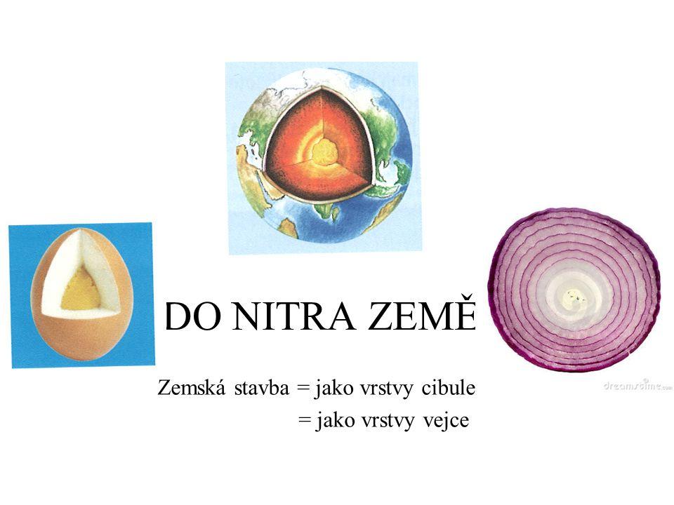 DO NITRA ZEMĚ Zemská stavba = jako vrstvy cibule = jako vrstvy vejce